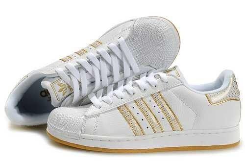 adidas femme superstars blanche et or